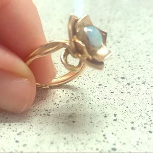 Lotus ring with opal